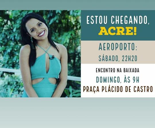 Gleici está voltando para Rio Branco - AC