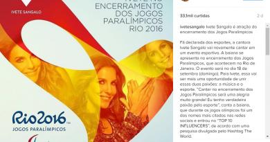 Encerramento das Paralimpíadas terá Ivete Sangalo