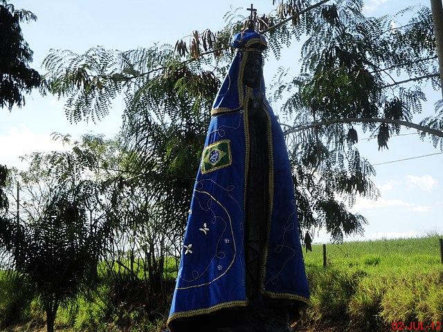 Imagem de Nossa Senhora Aparecida na primeira entrada de Sertãozinho.O nome da santa está diretamente ligado ao início da cidade. O primeiro nome de Sertãozinho foi Arraial de Nossa Senhora Aparecida de Sertãozinho. Sua imagem aparece na bandeira e no brasão do município By MARCO AURÉLIO ESPARZ…, CC BY-SA 3.0, https://commons.wikimedia.org/w/index.php?curid=55996223