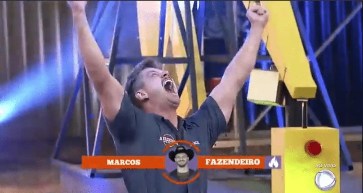 Marcos Harter foi o grande vencedor da Prova do Fazendeiro (Foto/reprodução Record TV)