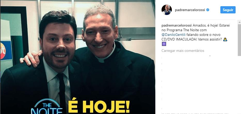 Padre Marcelo Rossi participa do The Noite (Foto/reprodução Instagram)