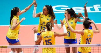 Brasil comemora ponto (Divulgação/FIVB)