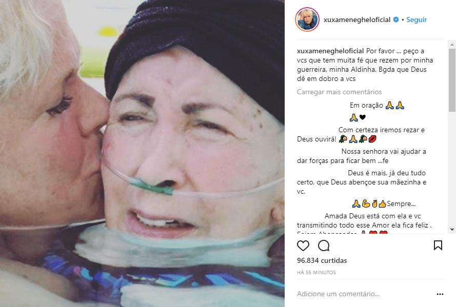 Xuxa posta foto com a mãe, Alda, e pede: 'Rezem por minha guerreira'