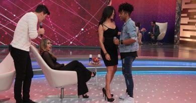 Nadja e D'Black, do Power Couple Brasil, participam do Hora do Faro CRÉDITO DAS FOTOS: Antonio Chahestian/Record TV