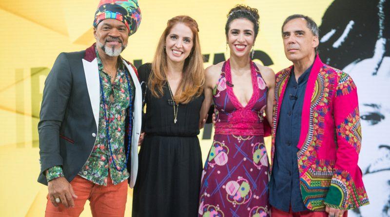 Foto: Poliana Abritta recebe Carlinhos Brown, Marisa Monte e Arnaldo Antunes no 'Fantástico' deste domingo. Crédito: Globo/ Raquel Cunha
