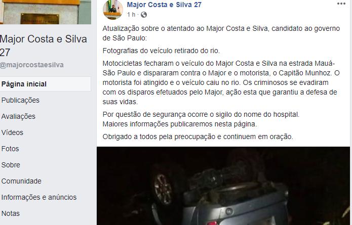 Major Costa e Silva, candidato a governador de SP, é alvo de atentado
