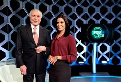 O Presidente Michel Temer e Débora (Crédito: Lourival Ribeiro/SBT)