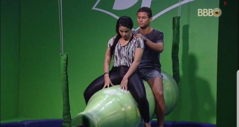 Elana e Danrley seguem firmes na prova do líder (Foto/Reprodução TV Globo)