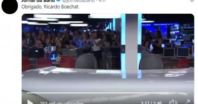 Jornal da Band termina com bancada vazia e aplausos a Boechat