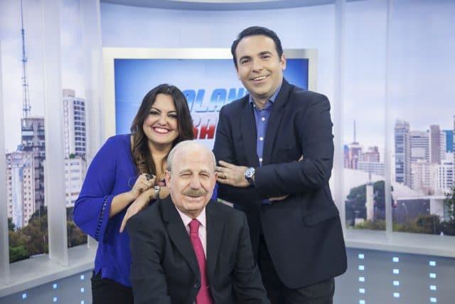 Fabíola, Renato Lombardi (sentado) e Gottino Crédito da foto: Edu Moraes/ Record TV