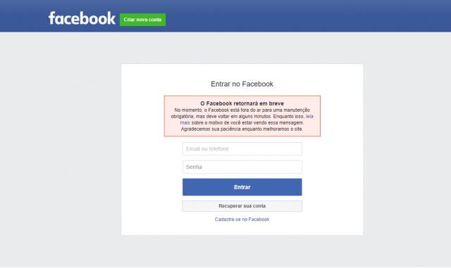 O Facebook caiu (Foto/reprodução)