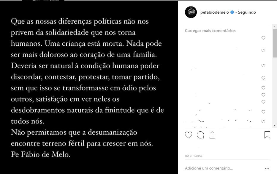 Padre Fábio fala sobre morte do neto de Lula