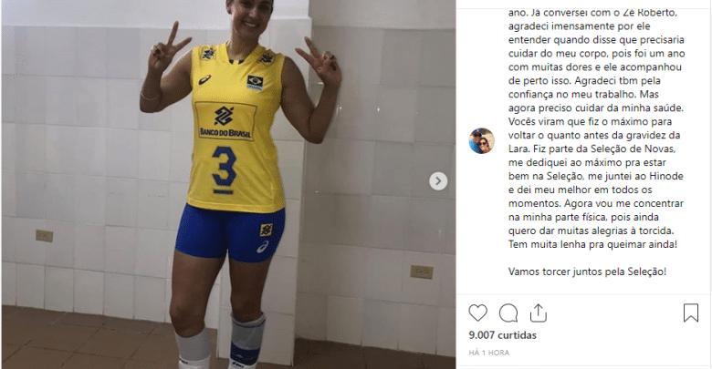 Dani Lins está fora da seleção brasileira de vôlei: 'Preciso cuidar da minha saúde'