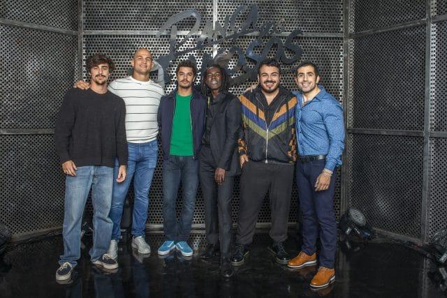 Time masculino: Bruno Montaleone, Júnior Cigano, Matheus Abreu, Jonathan Azevedo, Luis Lobianco e Kaysar Dadour Crédito: Fábio Rocha/Globo