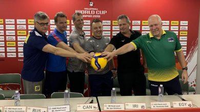 Renan na coletiva de imprensa da Copa do Mundo (Divulgação/CBV)