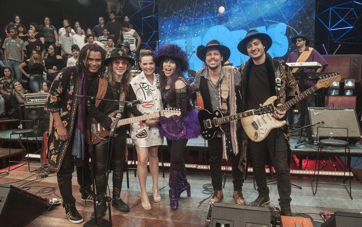 Letícia Colin, Baby do Brasil e sua banda. Créditos: Globo/Divulgação
