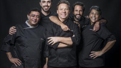Chefs Batista, Leo Paixão, Claude Troisgros, José Avillez e Kátia Barbosa Crédito: Globo/Victor Pollak