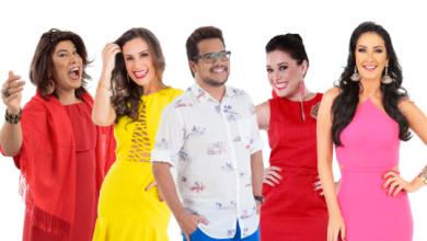 Tiago Barnabé (Narcisa), Nadja Haddad, Leo Sampaio, Milene Pavorô e Helen Ganzarolli (Foto: Divulgação/SBT)